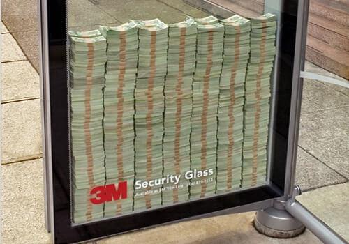 3億円あげちゃう3Mの防弾ガラスの広告