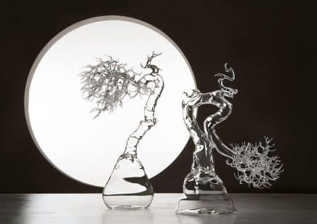 Simone Crestaniの吹きガラスで作られた盆栽