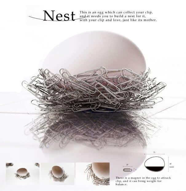 【Paper Clip NEST】オフィスの机にクリップの巣は如何?!