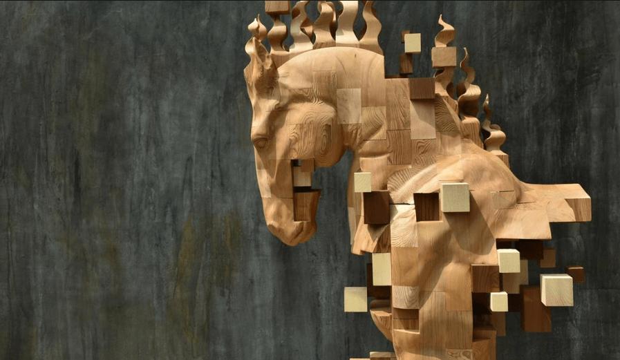 Hsu Tung Hanのグリッチ彫刻作品「chess」