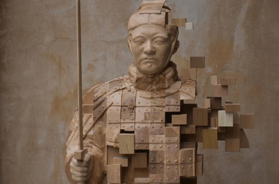 Hsu Tung Hanのグリッチ彫刻作品「秦劍」