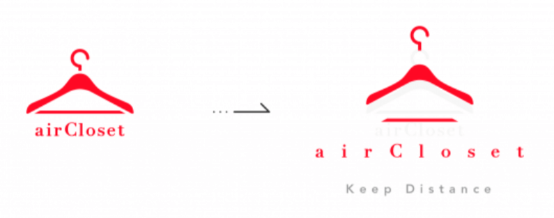 Air Closetのソーシャルディスタンスのアレンジがされた企業ロゴ