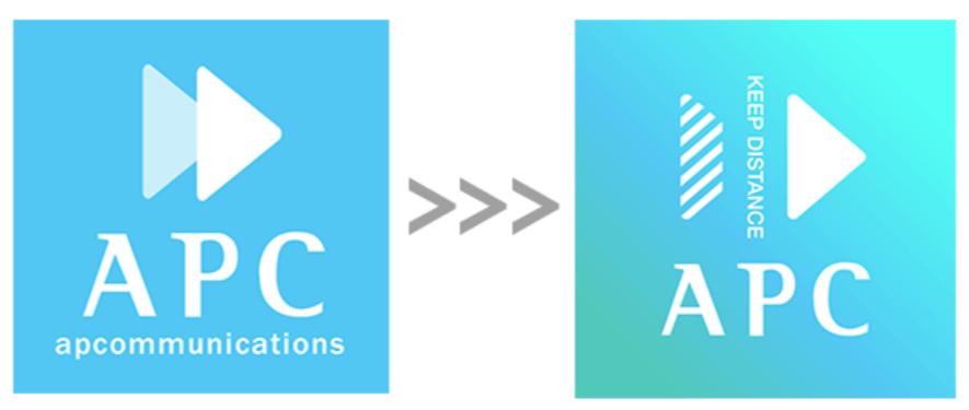 株式会社エーピーコミュニケーションズのソーシャルディスタンスのアレンジがされた企業ロゴ