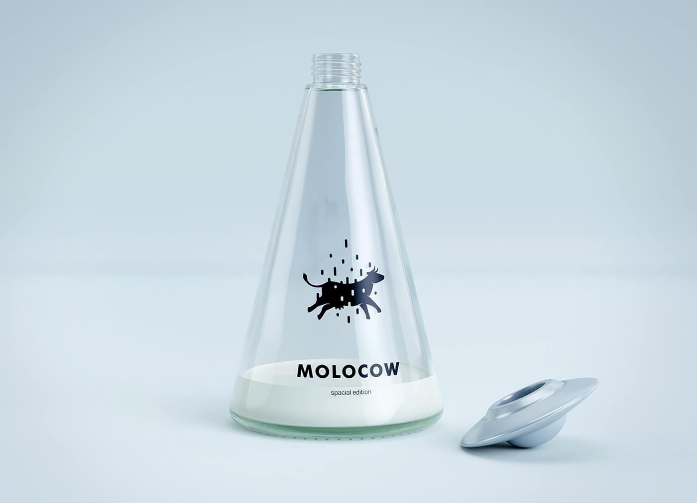 Molocowの牛乳瓶(ミルクボトル)の開封イメージ