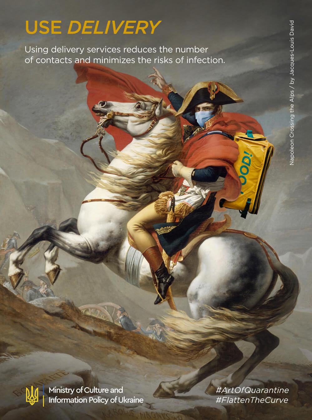 ジャック=ルイ・ダヴィッド作「アルプスを越えるナポレオン」のArt of Quarantine版ポスター